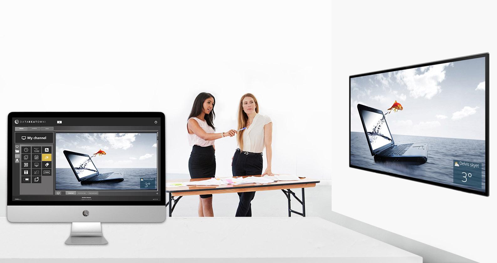 Publisering av innhold fra maskin med digital signage programvaren til skjermen på veggen